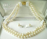 Earrings & Necklace american salt - 7 MM Rare salt water White Pearl Necklace Earring Set amp inches