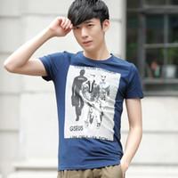 Cheap Summer fashion teen boys cotton short-sleeved T-shirt Korean