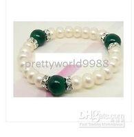 Beaded, Strands green white jade - AAA genuine cultured white freshwater pearl green jade bracelet