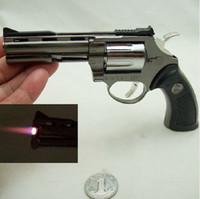 Wholesale MINI Hot Metal GUN Torch Lighter GAS Gun Shape Lighter With Leather Case Cigarette Lighter