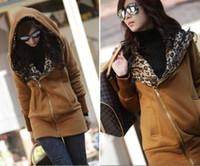 Wholesale 2014 New Hot Ladies Leopard Hoodie Top Fleece Women Zip Coat Sweatshirt M L