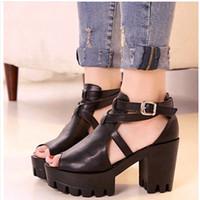 Women Spool Heel PU discount cheap sandals for women 2014 open toe shoe high-heeled shoes thick heel sandals kc 15 $free shipping