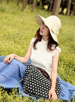 Wide Brim Hat Red Yarn Dyed New Fashion Women's Foldable Wide Brim Floppy Summer Beach Straw Hat Sweet Butterfly Cap 2pcs lot free shipping