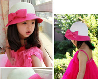 Wholesale Hot Girls Summer Caps Grass Braid Straw Hats Bontique Arc shaped Mushrooms Caps Adorable Kids Bowknot Hats