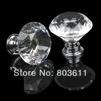 Ceramic Yes HGDD673A 10pcs Clear 30mm Crystal Glass Pull Handle Cupboard Cabinet Furniture Drawer Door Knob With Screws