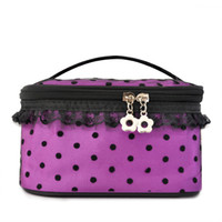 Cosmetic Cases Dot Fashion Cute Double Zipper Dot Cosmetic Box Makeup Bag Coin Pouch Make Up Storage Organizer Case Hand Clutch #A081