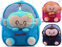 Wholesale New cute cartoon monkey plush doll toy kid children backpacks student school bag satchels mochila bolsas