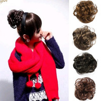 Wholesale popular women girls Hair Wave curly chignon Ponytail Bun Tail Extensions Hairpiece Black Brown Flaxen L04040
