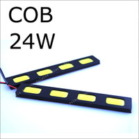 12V - - 1pair COB Led day running light Car truck 12v 24w White day time running DRL Lamp Auto Rear reverse backup Waterproof daytime
