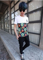 Men Polo Short Sleeve Lin curved summer new fashion casual short-sleeved T-shirt handsome les tide male Korean version of Slim Neck sunflowers carp