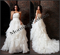 Cheap A-Line wedding dress Best Model Pictures Strapless wedding gown