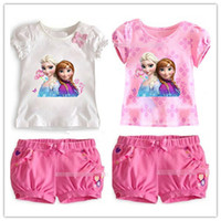 Girl Summer Short Frozen Girl 2pcs Sets 2014 Children Clothing Princess Anna Elsa Flower Tshirt Tee + Bowknot Shorts Pants Outfit Kids Snow Queen Suit D2703