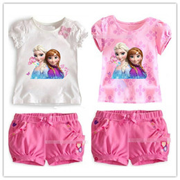 Wholesale Frozen Girl Sets Children Clothing Princess Anna Elsa Flower Tshirt Tee Bowknot Shorts Pants Outfit Kids Snow Queen Suit D2703