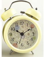 Wholesale Metal double bell alarm clock Metal shell night lights creative Mute scanning electronic clocks