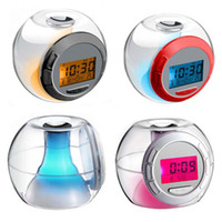 Wholesale EMS color Light Alarm Clock Round Transparent Timer LED Digital Clock with Nature Sound and Thermometer