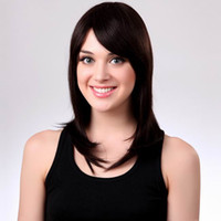Wholesale Newest MAYSU Human Hair Wig Fashion Black Long Straight Hair Wig With Inclined Bang Style