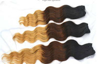 Chinese Hair Natural Wave  Bestbuy HOT SALE 1b #4 27# ombre color three tone color Brazilian human hair weft 4pcs lot free shipping mix length