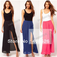 Chiffon Above Knee Women Women's Ladies Solid Color Irregular Front Open Fork Chiffon Skirts full Long Skirt S M L Dropshipping 16399