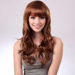 Wholesale Sweet Maysu Long Wave Curly Neat Bangs Hair Wig Blonde Synthetic Wigs Hairpiece For Party IC036M