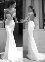 Reference Images Crew Elastic Satin Berta 2014 New Sheer Illusion Bateau Open Back Applique Gold Sash Sweep Train Mermaid Backless Evening Dresses Bridal Gowns Prom Dresses