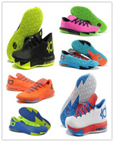 Wholesale 2014 Nice Basketball Shoes Men Brand Name KD VI Sneakers Cheap Kevin Durant Basket Ball Trainers New Sports Boots Athletic Cleats Hot Sale