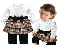 Wholesale Spring amp Autumn Toddlers Bowknot Belt Romper Baby Girls Jumpsuits Infant Long Sleeve One piece Climbing Clothes With Plaid Flouncing I0562