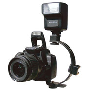 Metal   C-shaped 2 hot shoe dual metal flash bracket for camera flash speedlite LED - Free Shipping