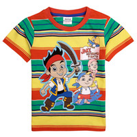 Wholesale nova baby boys clothes cartoon T shirts Junior Jake and the Neverland Pirates games colorful striped boys shirts C4642
