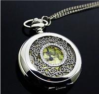 Wholesale Retro bronze Imperial crown Hot selling classical Pocket Watch Quartz Necklace watch Pendant Chain Clock XH110