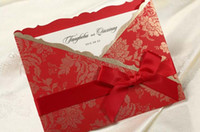 Wholesale Vintage Wedding Invitations invitation Cards card With Customize Printing as Coat in Red Gold with Ribbon Set of