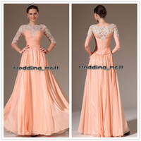 Reference Images Jewel/Bateau Chiffon 2014 Charming A line Bateau Applique Ruched Bodice Prom Dresses Ruffles Lace Chiffon 3 4 Long Sleeve Floor Length Evening Party Dresses