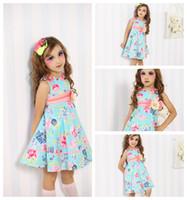 Wholesale Best selling Beautiful vintage A line baby clothes Print Blue Flowers Tutu skirt Cotton High Waist princess girls dresses