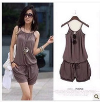Polyester Regular Pocket womens Jump suit pants Casual Jump Suit Sleeveless Spaghetti Strap Summer Casual Jumpsuit Romper Fashion Women Pants H172