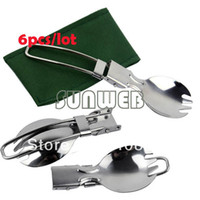 Wholesale 6pcs dropShipping Outdoor Camping Hiking Cookout Picnic Foldable Spork Stainless Steel Fork Spoon Silver