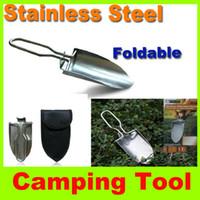 Wholesale New foldable shovel Mini Stainless steel shovel Trowel Multi function Hand Shovel Garden hiking camping shovel Spade outdoor tool shovel H