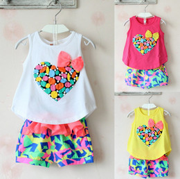 Wholesale Cute Kids Clothes Girls Colorful Peach Bowknot Tank Top Tshirt Chiffon Shorts Outfit Children Child Heart Bow Tee Pants Set D2729