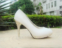 Wholesale Cheap Price White Serpentine Leather Shoes Ladies Women s High Heels Platform Wedding Dress shoes