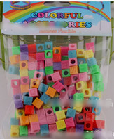 Wholesale 8 off on sale rainbow loom kits DIY braided bracelet Mixing rubber band pendant Square letters style in each bag DROP SHIPPING OM