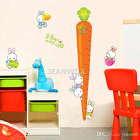 Wholesale Removable Wall Sticker Decal Cute Bunny amp Carrot Height Chat Wall Decor Home Decoration JM8318