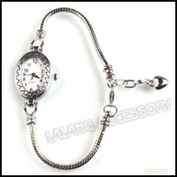 Wholesale 3pcs New Anique Silver Plated Copper Oval Face Ladies Charms Bracelets Watch cm Fit European Beading