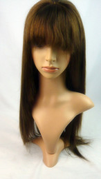 straight or wavy with bangs 100% Brazilian Virgin Human Hair medium brown #4 color Glueless Front Lace Wig or Full Lace Wig