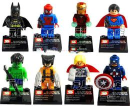 Wholesale Super Heroes The Avengers Iron Man Hulk Batman Wolverine Thor Building Blocks Sets Minifigure DIY Bricks Toys