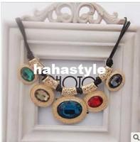 Zircon / Rhinestone Rhinestone Japan and South Korea South Korea imported stylenanda retro aesthetic Acrylic large gemstone necklace diamond palace women short paragraphSP0515