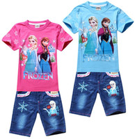 Girl frozen tshirt - Hot Sale New Summer Children Girls Suits Snow Queen Tops Tshirt Jeans Pants Childs Sets Frozen Anna Elsa Princess Kids Clothing G0221