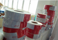 Wholesale PET glossy veneer m roll Car reflective posted White andRed m cm Hazard Warning Tape