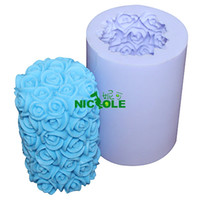 FDA candle mold  Silicone Rubber Wholesale- handmade silicone candle mold rose flower DIY candle craft molds soap mold Nicole LZ0088