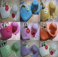 Wholesale Baby Girls Flower Straw Beach Hat Bag kids sun hat beach bags children Summer cute candy color topee