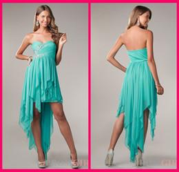 Wholesale homecoming dresses Graduation Dresses Sweetheart A Line Blue Chiffon Asmmetrical Evening Homecoming Dress