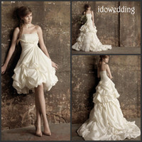 A-Line wedding gown detachable train - Two Piece Design Taffeta A Line Stapless Detachable Wedding Dresses Ruffule Sweep Train Bridal Gown