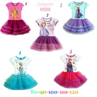 Wholesale 2016 New Girls Frozen Dress Children Frozen Princess Tutu Dress Children Cartoon Dress